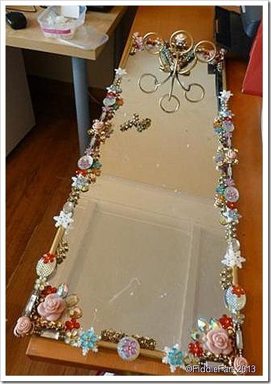 Bejewelled mirror boudoir mirror