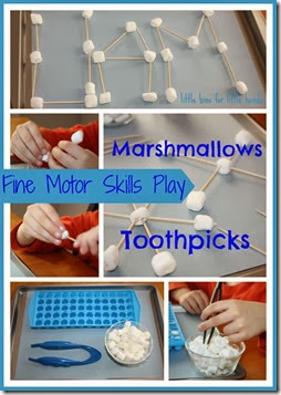 Marshmallow Fine Motor Play for Kids from Little Bins for Little Hands