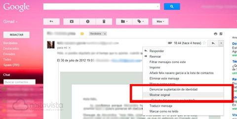 IP de un email en Gmail