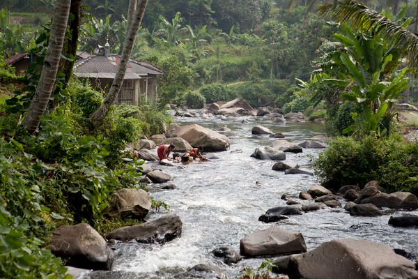 Clean water from Gunung National Park flows down to the nearby village of Bodogol in west Java, Indonesia. Local people use this water for their crops, collecting food, washing clothes and bathing. Photo: Jessica Scranton / Conservation International