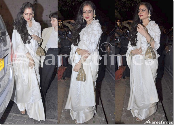 Rekha_White_Silk_Saree