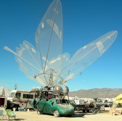 Giant butterfly art car