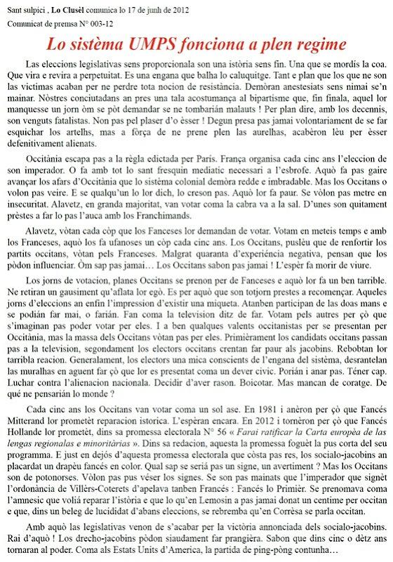 comunicat 003-12 Lo Clusèl sistèma UMPS