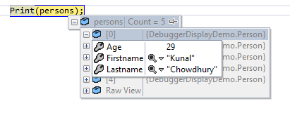Debugging individual item in a Collection