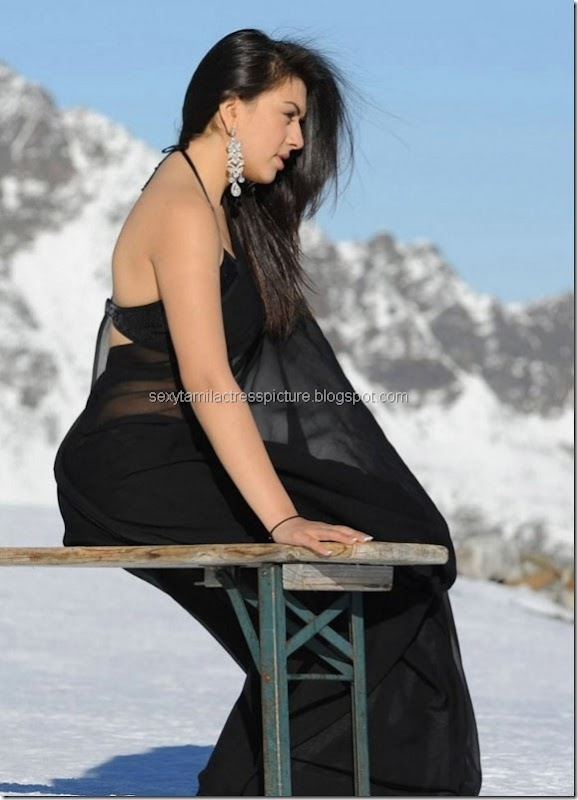 hansika_motwani_hot_in_black_saree