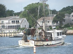 Cape Cod fishing boat returning to Hyannis docks