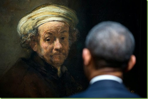 "March 24, 2014 ""POTUS meets Rembrandt. The President looks at Rembrandt's 'Self-portrait as the Apostle Paul' during a tour of the Gallery of Honor at the Rijksmuseum in Amsterdam, the Netherlands.""  (Official White House Photo by Pete Souza)"