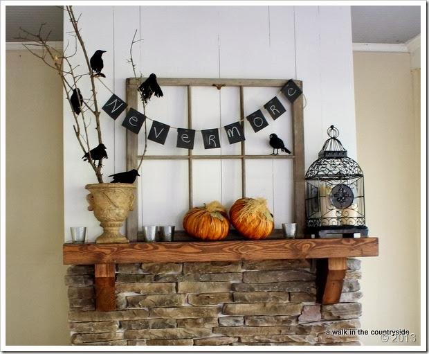halloween party mantel decor