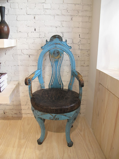 I love the color of this Allmoge armchair from Norway circa 1800.