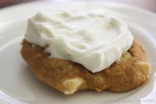 pumpkin chocolate chip cookie with icing