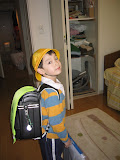 Kai on his way to 1st grade, with his randoseru (Japanese backpack)
