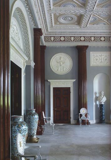 Another image from the Harewood House, this entrance hall's engaged brown columns bring contrast and stateliness to the room.