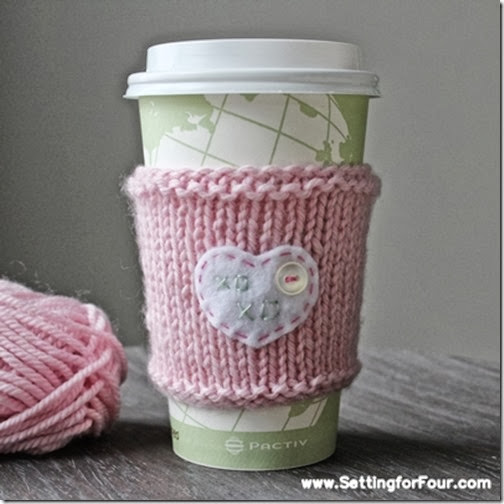 Make a Embroidered Cup Cozy from Setting for Four #diy #up #cozy #knit