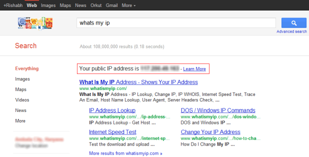 How to view your IP Address through Google Search