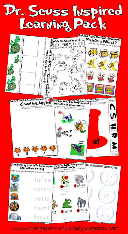 Dr. Seuss Inspired Worksheets for Toddler, Preschool, Kindergarten, and 1st Grade
