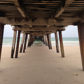 Under the jetty by Pamela Howard - Buildings & Architecture Bridges & Suspended Structures ( sand, sky, jetty, beach )