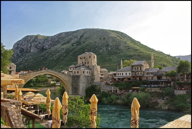 View of Old Bridge Mostar from Market