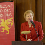 College President Sister Carol Jean Vale welcomes alumnae of 50 years and more, and their spouses/guests, to Sundays Golden Griffins Brunch, immediately following the Annual Golden Griffins Mass.
