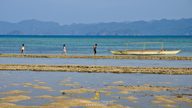 Walking on Low-Tide at Sabitan Laya Island in Caramoan