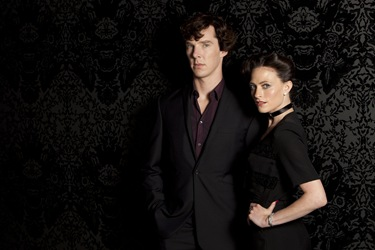 BBC Sherlock Benedict Cumberbatch is Sherlock Holmes and Lara Pulver is Irene Adler