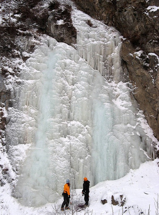 Ice climbers ready to climb this waterfall south of Anchorage
