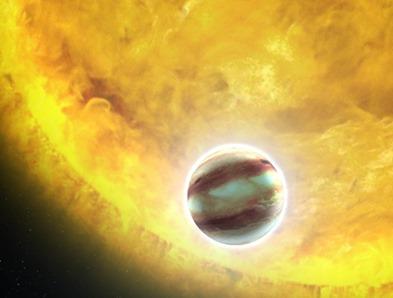 ilustração de um exoplaneta em trânsito