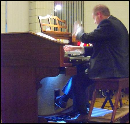 Chris Powell in full flight on the Allen TH300 Theatre Organ. Photo Gordon Sutherland.