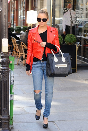 1c9c2_Nicole-Richie-House-of-Harlow-1960-Sunglasses-Simone-red-Leather-Jacket-Celine-Mini-shopper-bag-3