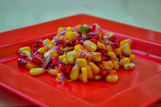 Crunchy but not fried-Sweet Corn and pomegranante salad