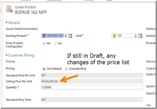 If has default price list, price list changed draft quote product will be reflected