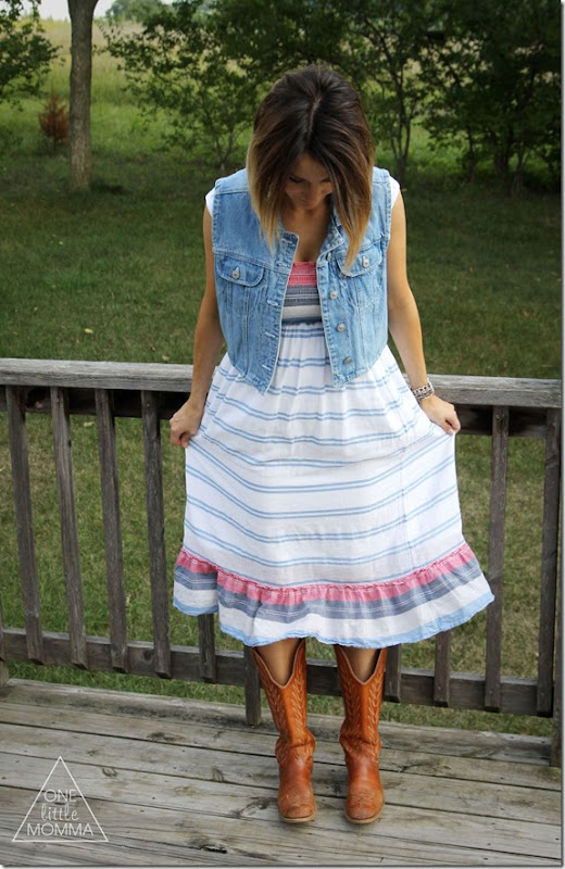denim vest, sun dress and cowgirl boots