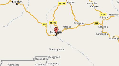 Carte de Tshikapa au Kasaï Occidental