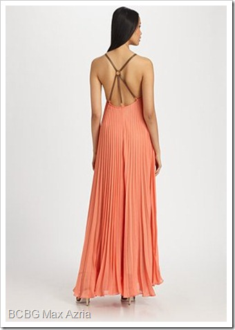 BCBGMAXAZRIA Edita Pleated Sunburst Maxi Dress