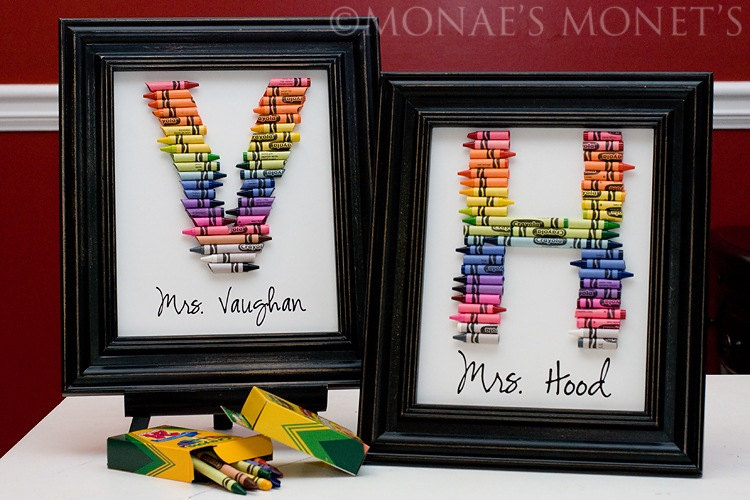 Black frame crayon teacher gift blog