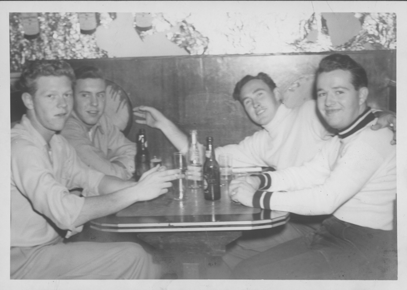 """Garchy?, Dirk, Hatch, and Grade?"" at a restaurant booth. Circa 1950s."