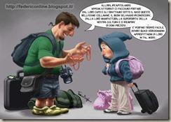 Giovani sposi con valigie