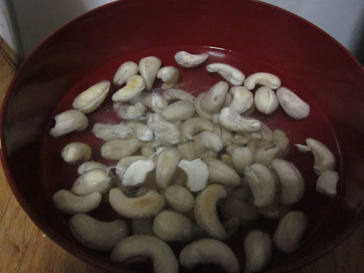 Soak one cup of raw, unsalted cashews in water for 8+ hours. I buy them in bulk online for $6/lb and store them in my fridge so I can make milk anytime I want.