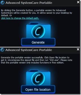 Advanced SystemCare Free generare la versione portable