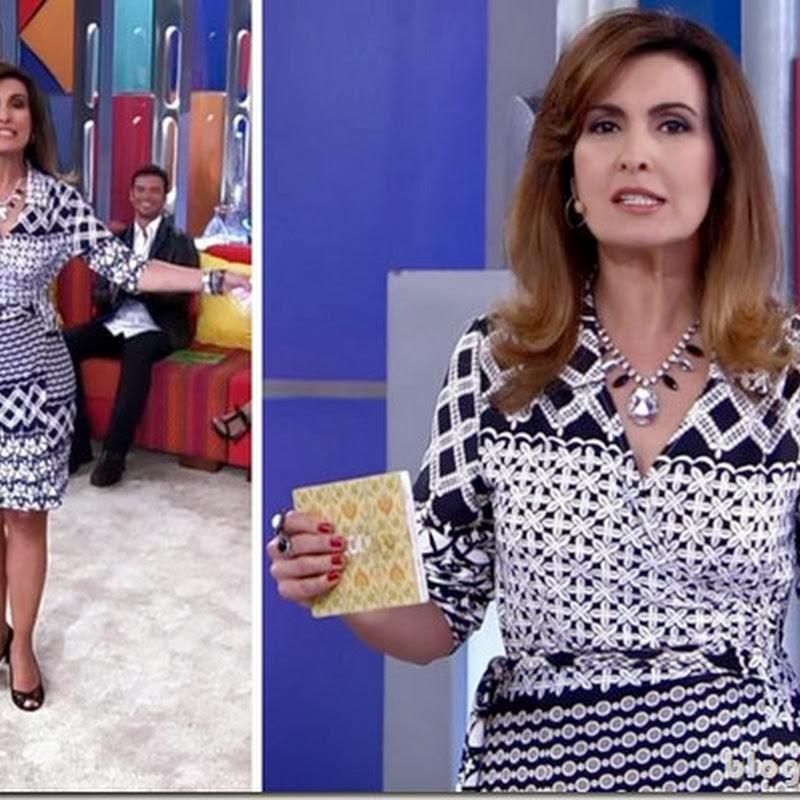 Vestido mix de padronagens P&B da Fátima Bernardes no Encontro dia 6 de novembro