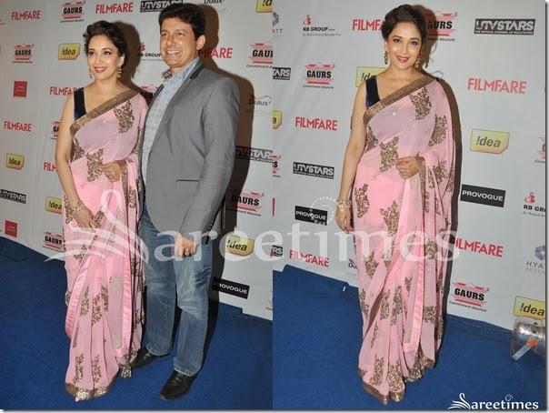 Madhuri_Dixit_Pink_Embellished_Saree