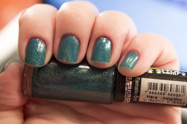 esmalte verde azul com brilhinhos