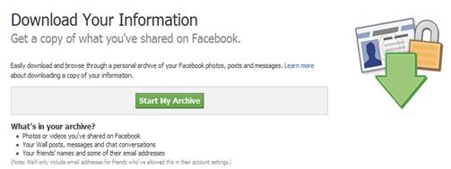 ดาวน์โหลดข้อมูลสำรองผ่าน facebook
