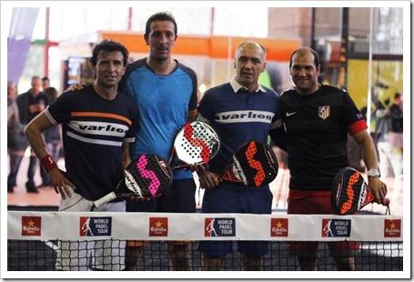 Seba Nerone, atlético reconocido, y el mítico jugador rojiblanco, Milinko Pantic han formado pareja ante los madridistas Luis Milla y Luis Miguel Ramis