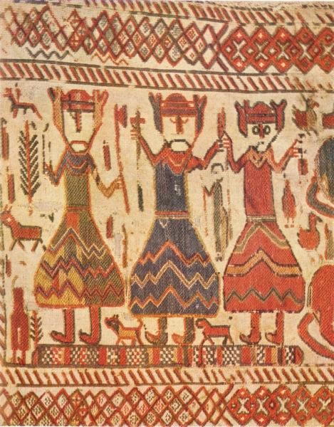 El tapiz de la iglesia Skog muestra desde la izquierda a Odín Thor con su martillo y Freyr