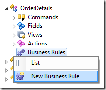 Creating a new business rule in OrderDetails controller.