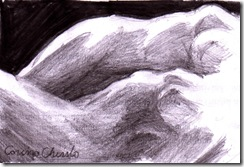 Doua femeie in intuneric doua corpuri doua nuduri desen in creion - Nude women in the dark pencil drawing