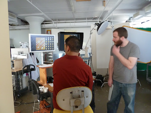 Our photographer, Bryan Gardner (right) checking out the light on our latest shot.