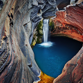 Spa Pool by Matt Hutton - Landscapes Caves & Formations ( national park, colourful, karijini, waterfall, rock formation, landscape, western australia )