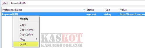 Uninstall AVG Secure Search Engine di Firefox