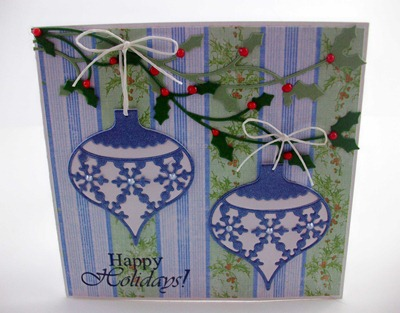 Snowflake Ornaments Hanging from Holly Card